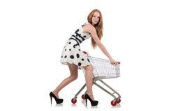 Kvinna, når att ha shoppat Arkivfoto