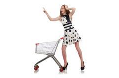 Kvinna, når att ha shoppat Fotografering för Bildbyråer