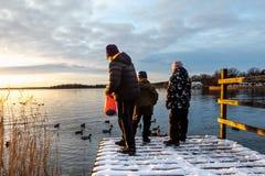 Kvinna och barn som står på en brygga med för gräsandand för snö matande fåglar i vattnet mot en vintersolnedgång fotografering för bildbyråer