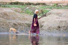 Kvinna och en hund som går på bankerna av Gangesen Arkivfoton