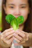 Kvinna och grönsak Royaltyfria Bilder