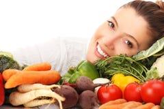 Kvinna och grönsaker Royaltyfri Fotografi