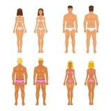 Kvinna och grabb för vektor ung i underkläder Kroppmallar Arkivfoto