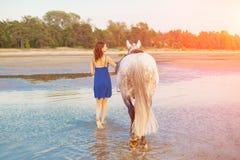 Kvinna och häst på bakgrunden av himmel och vatten Flickamodellnolla arkivfoto