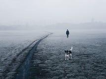 Kvinna och hennes hund som går i dimman royaltyfria bilder