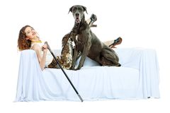 Kvinna och hund Royaltyfri Foto