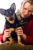 Kvinna och hund Royaltyfria Foton