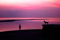 Kvinna och hund med solnedgång på stranden Royaltyfri Bild