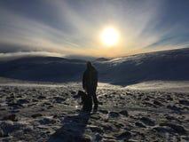 Kvinna och hund som fotvandrar i bergen royaltyfri bild