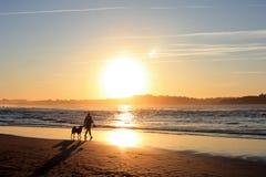 Kvinna- och hundkonturer på stranden Arkivbild