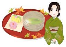 Kvinna och japanska sötsaker royaltyfri illustrationer