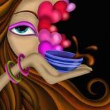 Kvinna och kopp kaffe vektor illustrationer