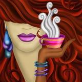 Kvinna och kopp kaffe royaltyfri illustrationer