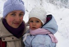 Kvinna och liten flicka Arkivbild