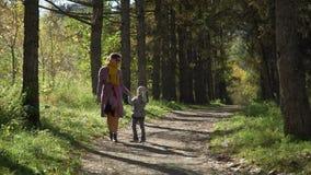 Kvinna och liten flicka som går i höstgränden arkivfilmer