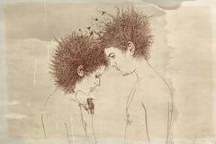 Kvinna och man i profil med fåglar Arkivfoton
