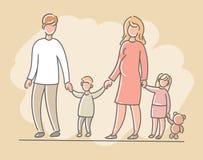 Kvinna och man med barn, pojken och flickan, familj också vektor för coreldrawillustration Royaltyfria Bilder