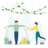 Kvinna och man med julljus och gåvor vektor illustrationer