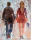 Kvinna och man som går, tillbaka sikt Handgjord olje- målning på kanfas Royaltyfri Fotografi