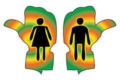 Kvinna- och mandiagram på toalett väglett behändigt tecken Arkivbild