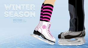 Kvinna- och manskridskoåkning vinter utomhus på isisbana ben Ishockeyskridskor Isolerade objekt på vit bakgrund Textur av isytter Arkivbild