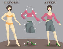 Kvinna och mode, påverkan av mode, docka royaltyfri illustrationer