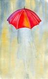 Kvinna och regn Arkivfoto