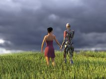 Kvinna och robot på grönt fält Fotografering för Bildbyråer