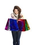 Kvinna- och shoppingpåsar Royaltyfri Fotografi