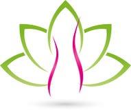 Kvinna och sidor, växt, wellness och kvinnlig doktorslogo Arkivfoto