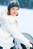 Kvinna och snowmobile Arkivbilder