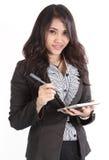 Kvinna och tablet Arkivfoto