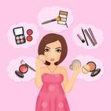 Kvinna och tillbehör för makeup stock illustrationer