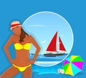 Kvinna och yacht på havet royaltyfri illustrationer