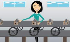 Kvinna på arbete i fabrik Fotografering för Bildbyråer