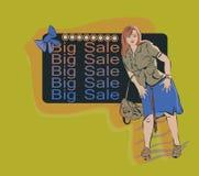 Kvinna på bakgrunden av annonsen på en stor försäljning Arkivfoto