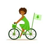 Kvinna på cykeln genom att använda grönt trans. som bidrar in i miljöbevarande, genom att använda Eco-vänskapsmatch vägar stock illustrationer
