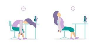 Kvinna på de trötta 2 versionerna för tabell stock illustrationer