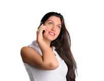 Kvinna på den isolerade mobiltelefonen Royaltyfri Fotografi