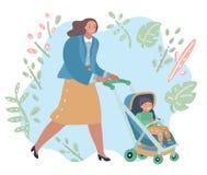 Kvinna på en gå med sonen i promenad vektor illustrationer