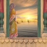 Kvinna på fönstret Fotografering för Bildbyråer