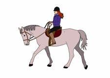 Kvinna på grå häst Royaltyfria Bilder