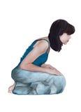Kvinna på hennes kness Royaltyfri Bild