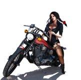 Kvinna på motorcykeln vektor illustrationer