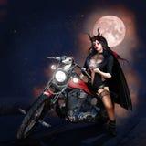 Kvinna på motorcykeln stock illustrationer