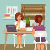 Kvinna på mottagande på doktorn Royaltyfri Fotografi