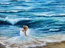Kvinna på stranden stock illustrationer