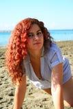 Kvinna på stranden Royaltyfria Foton