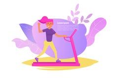 Kvinna på trampkvarnvektorn cartoon Isolerad konst på vit bakgrund Plant - vektor royaltyfri illustrationer