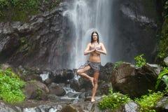 Kvinna på vattenfallet fotografering för bildbyråer